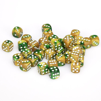 12mm Gemini Gold and Green d6s - Set of 36