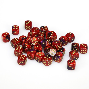 12mm Gemini Purple and Red d6s - Set of 36