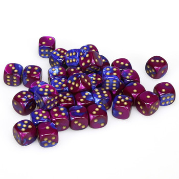 12mm Gemini Blue and Purple d6s - Set of 36