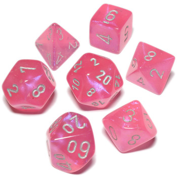 Pink Borealis Luminary dice set - DnD dice set