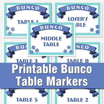 Bunco printable table markers
