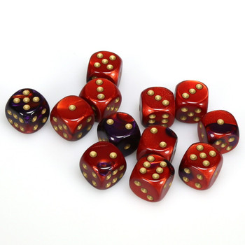 Set of 12 Gemini d6 dice - Purple and red with gold spots