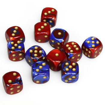 Set of 12 Gemini d6 dice - Blue and red with gold spots