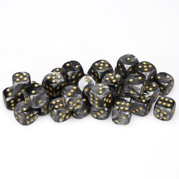 12mm Lustrous Black dice - Set of 36