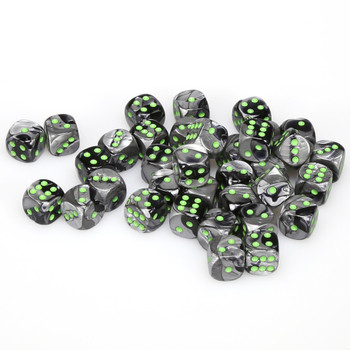 12mm Gemini Black and Gray d6s - Set of 36