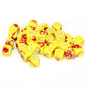 12mm Gemini Red and Yellow d6s - Set of 36