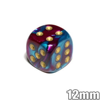Purple and teal 12mm Gemini d6