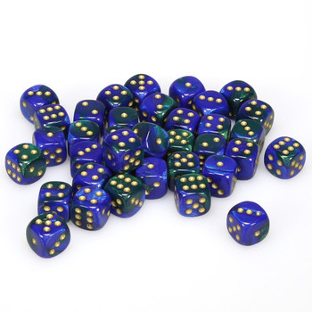 12mm Gemini Blue and Green d6s - Set of 36