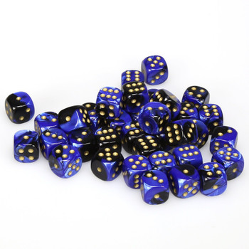 12mm Gemini Black and Blue d6s - Set of 36