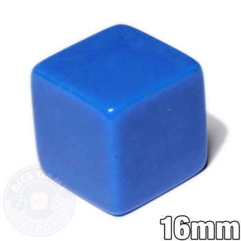 Blank blue dice - 16mm