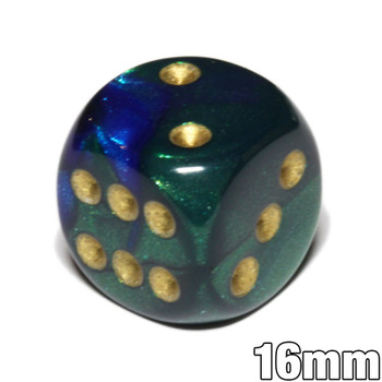 Gemini d6 dice - Blue and green with gold spots