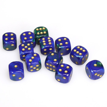 Set of 12 Gemini d6 dice - Blue and green with gold spots