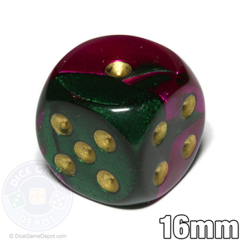Gemini d6 dice - Green and purple with gold spots
