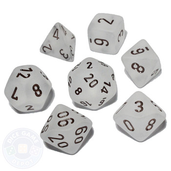 D&D dice set - 7-Piece - Frosted Clear