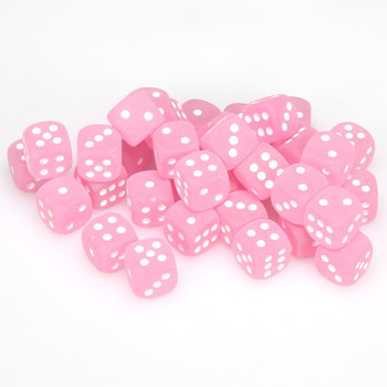 12mm Frosted Pink d6s - Set of 36