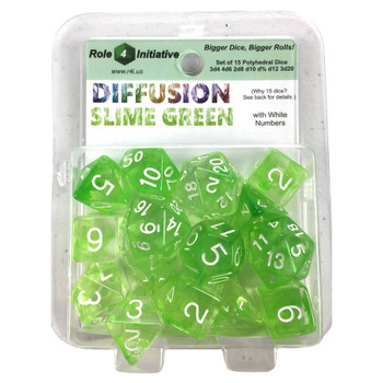 Diffusion 15-piece D&D dice set - Large 19mm dice - Slime