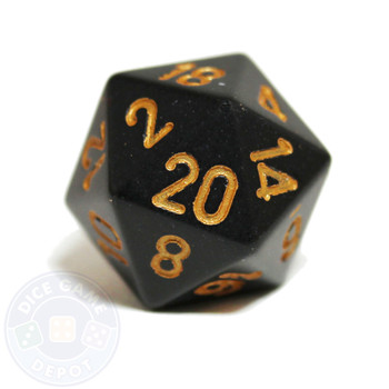 20-sided dice - Black with Gold Numbering