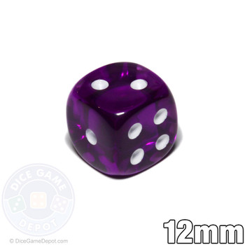 Transparent 12mm round-corner dice - Purple