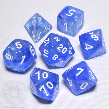 Sky Blue Borealis Dice Set - DnD dice
