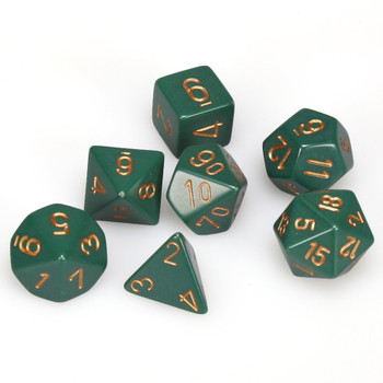 Opaque dusty green 7-piece D&D RPG dice set