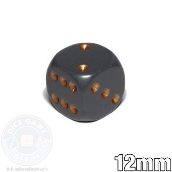 12mm Dark Gray Opaque Dice