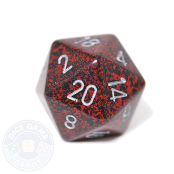 Big d20 - 34mm speckled Silver Volcano dice