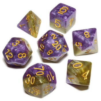 Halfsies 7-Piece Dice Set - Queens Dice
