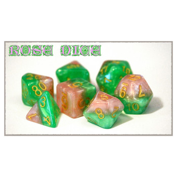 7-piece Halfsies dice set - D&D dice - Rose
