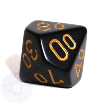 d10 percentile tens dice - Black with Gold