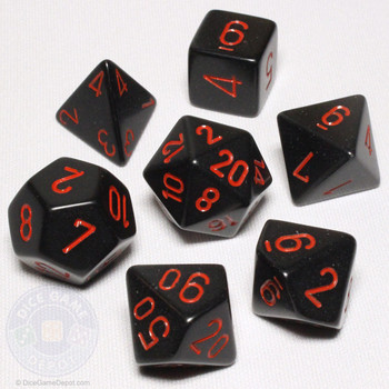 Opaque black with red DnD dice set