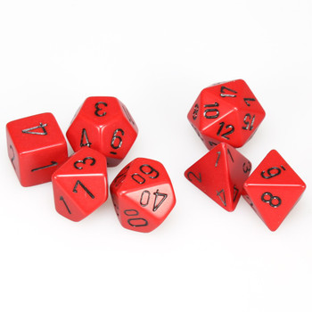 Opaque red with black 7-piece D&D dice set