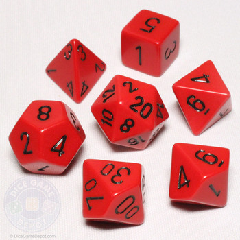 Opaque red with black DnD dice set