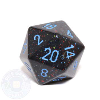 Big d20 - 34mm speckled Blue Stars dice