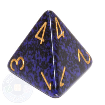 d4 - Speckled Golden Cobalt 4-sided Dice