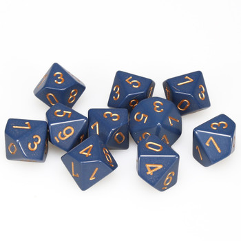 d10 set of ten dusty blue dice