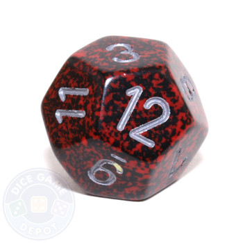 d12 - Speckled Silver Volcano 12-sided Dice