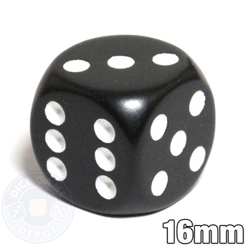 Round-corner dice - 16mm - Black