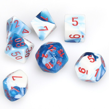 7-piece Gemini dice set - D&D dice - Astral Blue and White