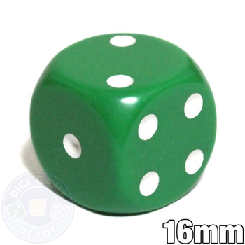 Round-corner dice - 16mm - Green