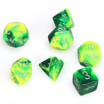 7-piece Gemini dice set - Green and Yellow