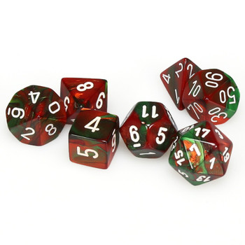 7-piece Gemini dice set - D&D dice - Green and Red