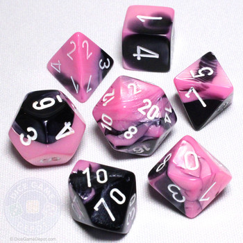 Black and Pink Gemini Dice Set - DnD Dice