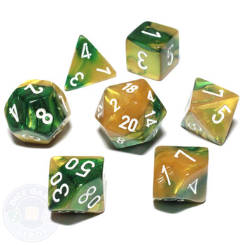 Gemini dice set - D&D dice - Gold and Green