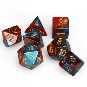 7-piece Gemini dice set - D&D dice - Red and Teal