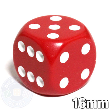 Round-corner dice - 16mm - Red