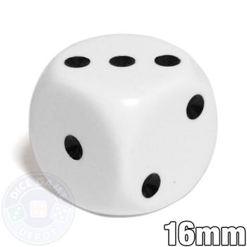 Opaque Round-Corner Dice - White d6