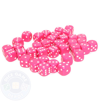 12mm Pink Opaque Dice - Set of 36