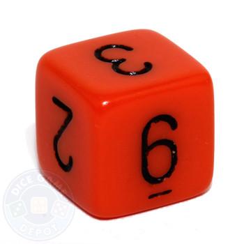Orange 6-sided numeral dice