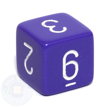 Purple 6-sided numeral dice