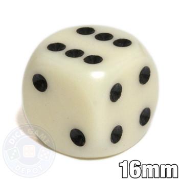 Round-corner dice - 16mm - Ivory